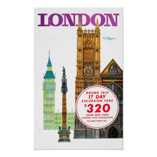 Vintage London England Travel Poster