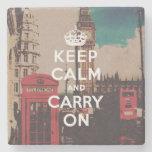 Vintage London Landmark Keep Calm And Carry On Stone Beverage Coaster