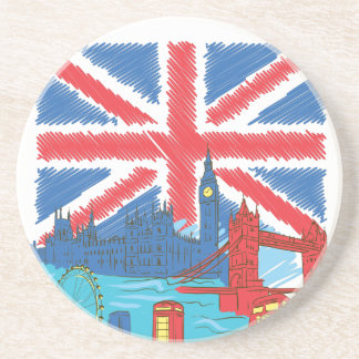 vintage lone flag and cities coaster