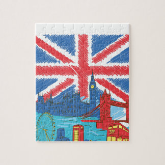 vintage lone flag and cities jigsaw puzzle