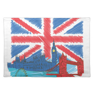 vintage lone flag and cities placemat