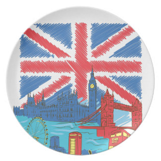 vintage lone flag and cities plate