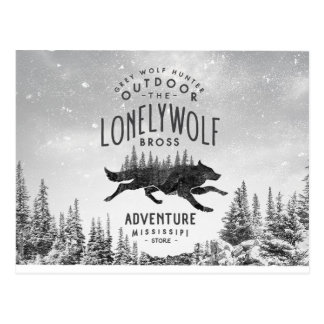 Vintage Lonely Wolf Adventure Mississipi Travel Postcard