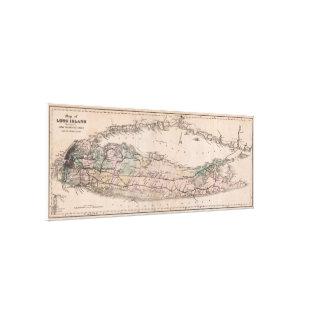 Vintage Long Island NY Railroad Map (1882) Canvas Print