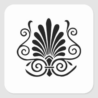 Vintage look art deco plume pattern black on white square sticker