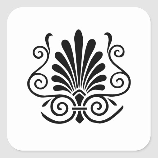 Vintage look art deco plume pattern black on white square stickers