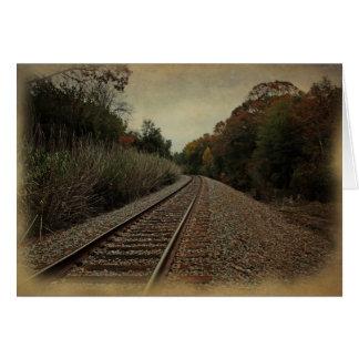 Vintage-look Autumn Railway Landscape notecard 2