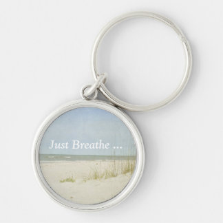 Vintage look beach scene key ring Silver-Colored round key ring