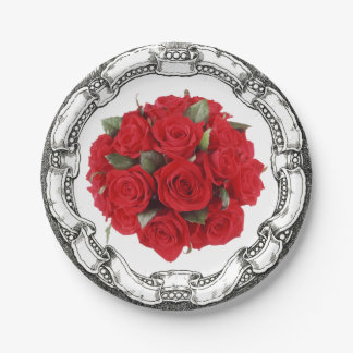 Vintage Look Bouquet Red Roses Paper Plate