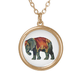 Vintage Look Circus Elephant Gold Plated Necklace