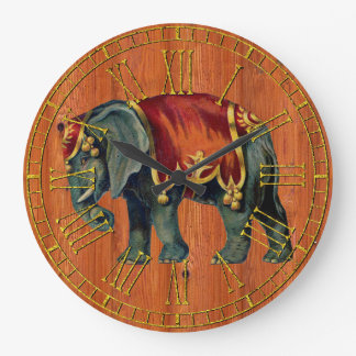Vintage Look Circus Elephant Large Clock