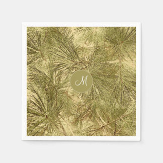 vintage look evergreen branches paper napkins