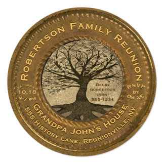 Vintage Look Family Tree Reunion Card