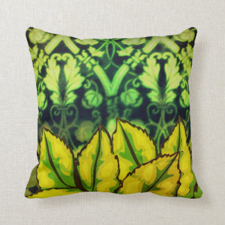 Vintage look Green Leaves antique Throw Pillow