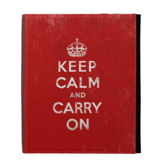 Vintage-Look Keep Calm and Carry On iPad Folio Cases