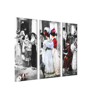 Vintage Look Ladies Shopping Canvas Print