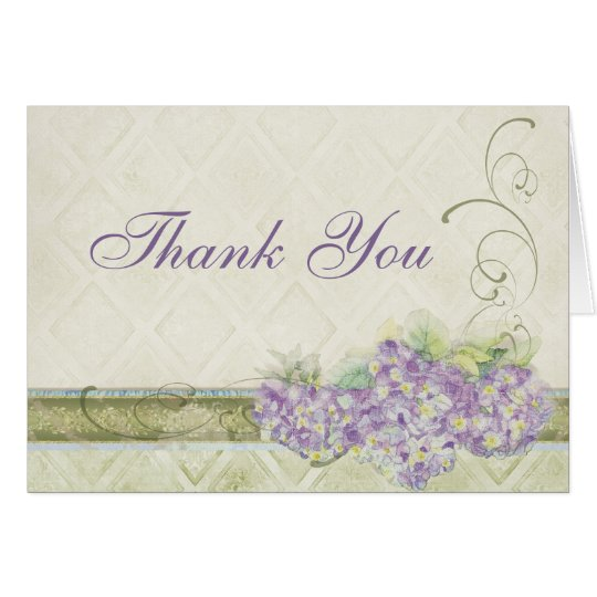 Vintage Look Lilac Hydrangea, Thank You Note Cards
