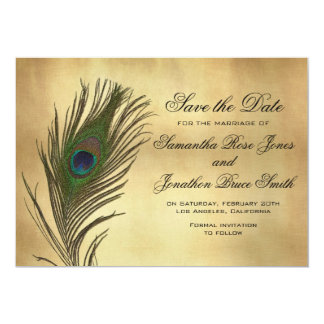 """Vintage Look Peacock Feather Elegant Save the Date 5"""" X 7"""" Invitation Card"""