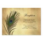 Vintage Look Peacock Feather Reception Info Card 9 Cm X 13 Cm Invitation Card