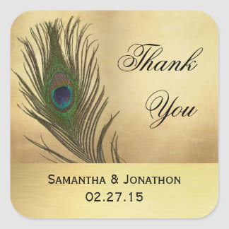 Vintage Look Peacock Feather Wedding Favor Labels