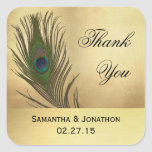 Vintage Look Peacock Feather Wedding Favour Labels Square Sticker
