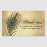 Vintage Look Peacock Feather Wedding Favour Labels Rectangular Stickers