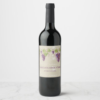 Vintage Look Purple Grapes Vines Leaves Wine Label