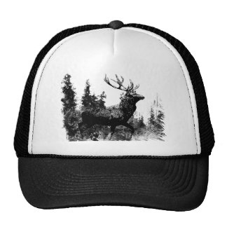 Vintage look Stag in Black and White, Deer Animal Cap