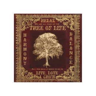 Vintage Look Tree with Inspirational Message Wood Wall Art