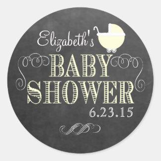 Vintage Look Yellow Baby Shower Round Sticker