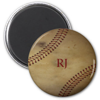 Vintage Looking Baseball with Custom Monogram 6 Cm Round Magnet