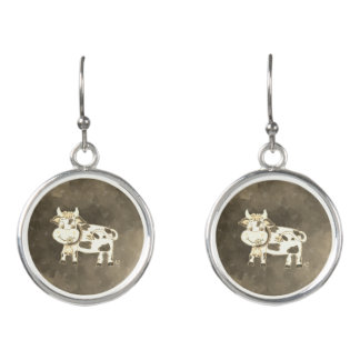 Vintage-looking cow drop earrings