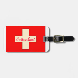 Vintage looking Swiss flag luggage tag
