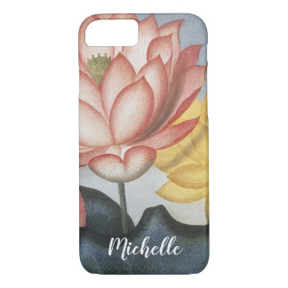 Vintage Lotus Flowers With Leaves in a Pond iPhone 8/7 Case
