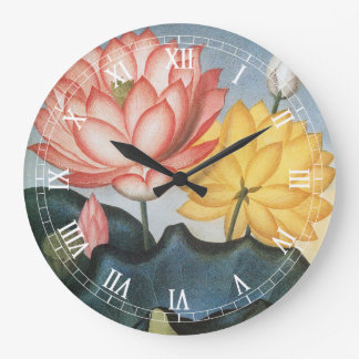 Vintage Lotus Flowers With Leaves in a Pond Large Clock