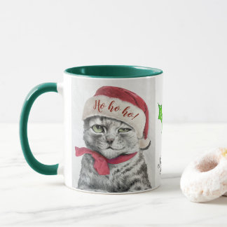 Vintage Louis Wain Christmas Tabby Cat Art Mug