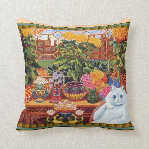 Vintage Louis Wain Flower Lover Cat Throw Pillow