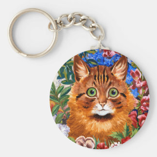 Vintage Louis Wain Garden Cat Key Chain
