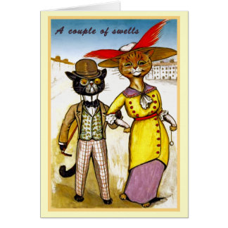 Vintage Louis Wain Swell Cat Couple Card