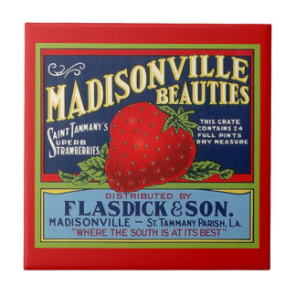 Vintage Louisiana Strawberry Prod Crate Label Tile