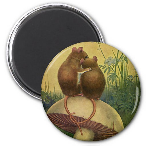 Vintage Love and Romance Animals, Field Mice Fridge Magnet