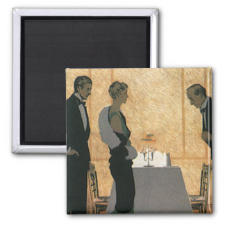 Vintage Love and Romance, Couple Elegant Dinner Refrigerator Magnet