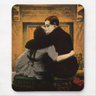 Vintage Love and Romance Couple Romantic Fireplace Mouse Pad