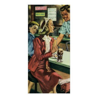 Vintage Love and Romance, Lady at the Soda Shop Poster