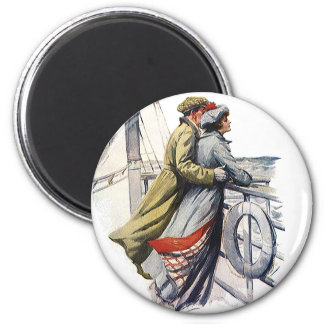Vintage Love and Romance, Newlyweds on Cruise Ship 6 Cm Round Magnet