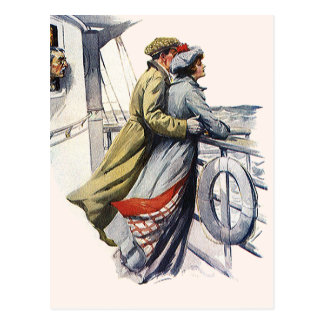 Vintage Love and Romance, Newlyweds on Cruise Ship Postcard