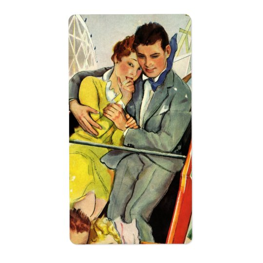 Vintage Love and Romance, Roller Coaster Ride Shipping Label