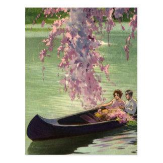 Vintage Love and Romance, Romantic Canoe Ride Postcard