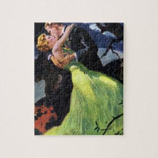 Vintage Love and Romance, Romantic Kiss Jigsaw Puzzle