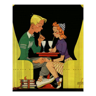 Vintage Love and Romance, Teens at the Soda Shop Poster